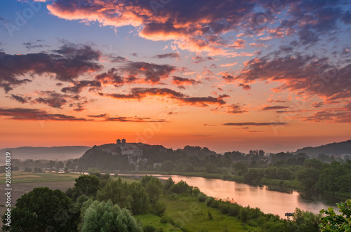 Plexiglas Koraal Beautiful colorful sunrise landscape, Tyniec near Krakow, Poland