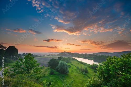Fotobehang Cappuccino Beautiful colorful sunrise landscape, Tyniec near Krakow, Poland