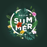 Hello summer vector illustration for background, mobile and social media banner, summertime card, party invitation template. Lettering summer concept with natural elements. - 208659802