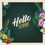 Hello summer vector illustration for background, mobile and social media banner, summertime card, party invitation template. Lettering summer concept with natural elements. - 208659897
