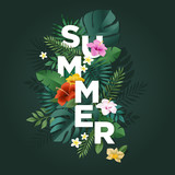 Summer vector illustration concept for background, web and social media banner, summertime card, party invitation template. Lettering summer concept with natural elements. - 208660216