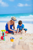 Mother and son at beach - 208662445