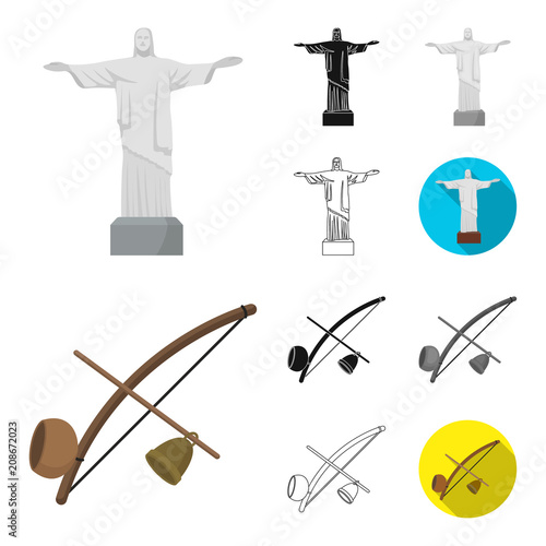 Country Brazil cartoon,black,flat,monochrome,outline icons in set collection for design. Travel and attractions Brazil vector symbol stock web illustration.