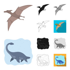 Different dinosaurs cartoon,black,flat,monochrome,outline icons in set collection for design. Prehistoric animal vector symbol stock web illustration.