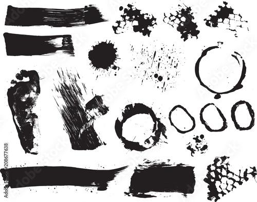 Fotobehang Cartoon draw Brush strokes and Paint Splatters Vector set