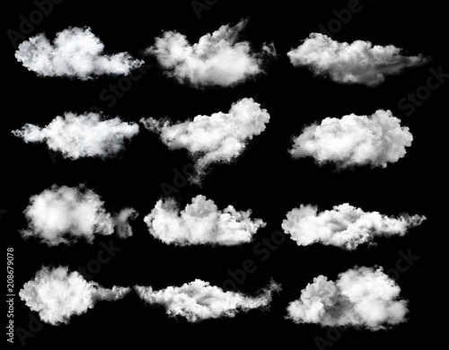 set of clouds on black background - 208679078