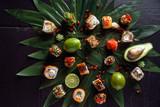 sushi on black background - 208683005