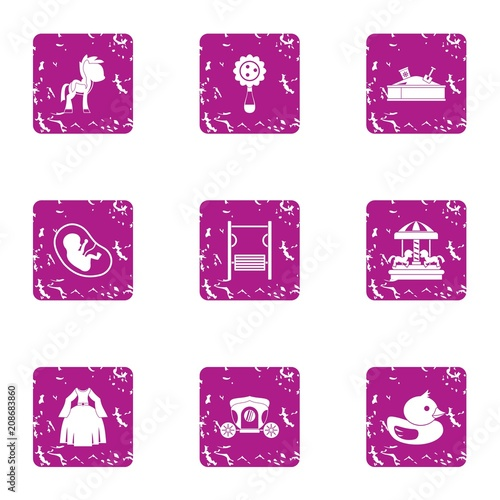 Infantile time icons set. Grunge set of 9 infantile time vector icons for web isolated on white background