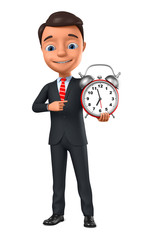 3d rendering. Businessman with a red alarm clock. © 3dddcharacter