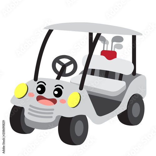 Fotobehang Auto Golf Cart transportation cartoon character perspective view isolated on white background vector illustration.