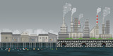 Pollution environment plant pipe dirty waste air and water polluted environment. - 208692000