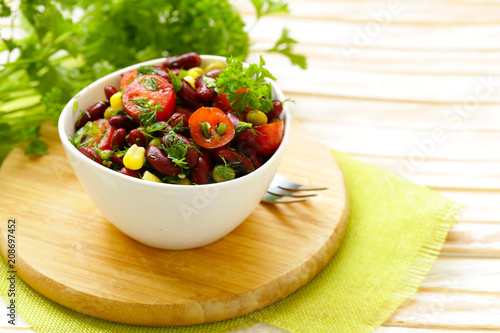 salad of red beans, corn and tomatoes