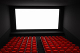 Cinema auditorium with white blank screen and red seats - 208698691