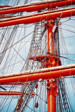 Old sailing ship mast details, color toned picture.