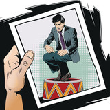 Businessman on circus pedestal. Stock illustration. - 208699889