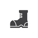 Camping boot vector icon. filled flat sign for mobile concept and web design. Hiking boots simple solid icon. Symbol, logo illustration. Pixel perfect vector graphics - 208700447