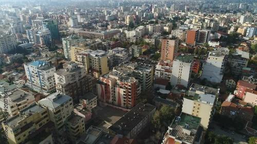 Drone shot of Tirana city in Albania