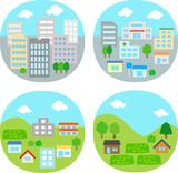 都市、住宅街、農村のイラストセット - 208707273