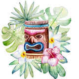 Tropical watercolor illustration with leaves, mask and flowers. - 208708238