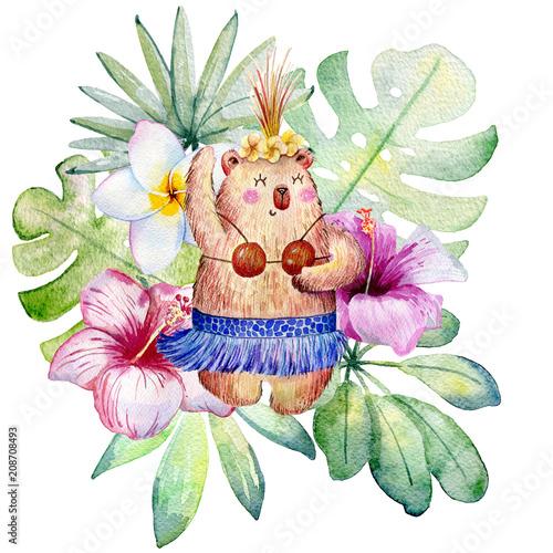 dancingowy-niedzwiedz-z-tropikalnymi-roslinami-akwareli-ilustracja-odizolowywajaca-na-bialym-tle