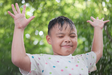 Boys are fun to play rain.