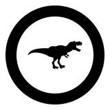 Dinosaur tyrannosaurus t rex icon black color in circle round