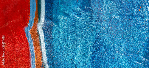Colorful street art graffiti fragment on painted plaster wall in the city - 208711658
