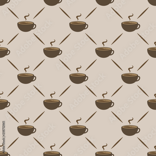 Coffee Seamless Pattern Background, Vector Illustration