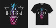Ultra summer. Stylish t-shirt and apparel modern design with neo