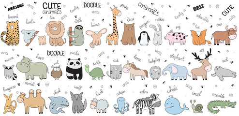 Vector cartoon big set of cute doodle animals © Alexandra