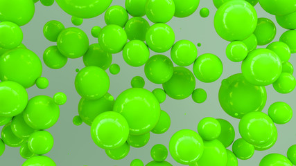 Green spheres of random size on white background © GooD_WiN