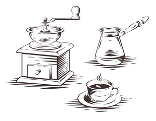 Coffee set with manual coffee grinder, coffee maker press and cup of coffee. Vector illustration.