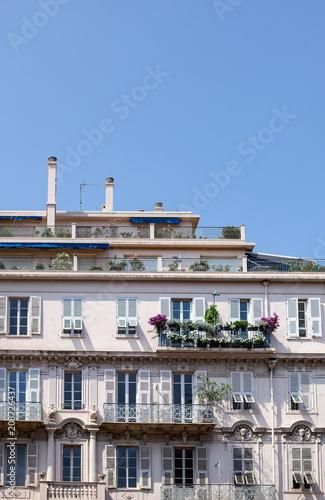Aluminium Nice Pretty window facade with flowers in Nice, france