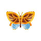 Beautiful yellow, brown and blue butterfly insect vector Illustration on a white background