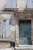 Beautiful door and window shutters in Arles, Provence, France