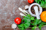 tomatoes, basil and peper spice - 208730660