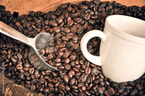 White cup and coffee beans - 208730806