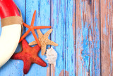 Beach poster with starfishes - 208732207