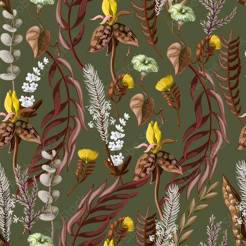 Seamless pattern with tropical and wild flowers. Vector illustration. © Yumeee
