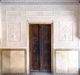 Antique rustic ancient wooden door. Architectural element. - 208735011