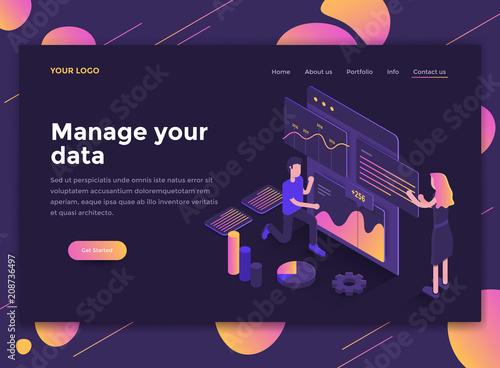 Flat Modern design of website template - Manage your data © darkovujic