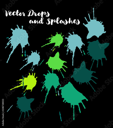 Green Vector Splashes, Hand Painted Watercolor Bang. Indian Holi Color Festival, Paint Burst, Water Splash. Green Vector Craft Logo Element, Holi Paint Burst. Uneven Texture Graffiti Shapes, Buttons.