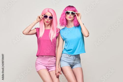 Aluminium Kapsalon Hipster Girls Blowing lips. Pink Fashion Hairstyle