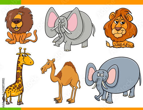 Naklejka cartoon safari animals funny characters set