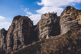 Beautiful Meteora in Greece with monasteries and dramatic sky