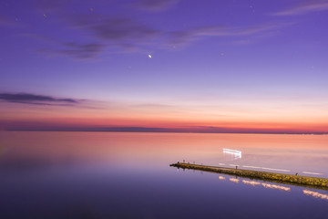 Seascape, view of breakwater, long exposure, Black Sea, Small Bay, Anapa, Russia © madhourse