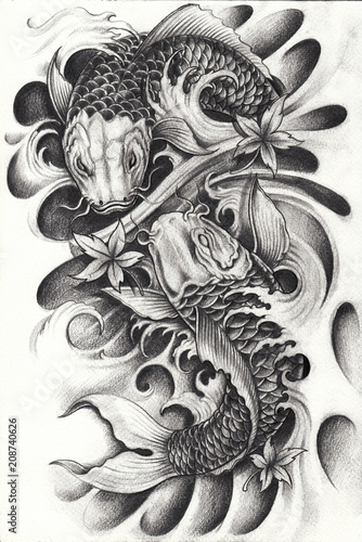 Fancy Carp Fish Tattoo.Hand pencil drawing on paper. © jiewsurreal