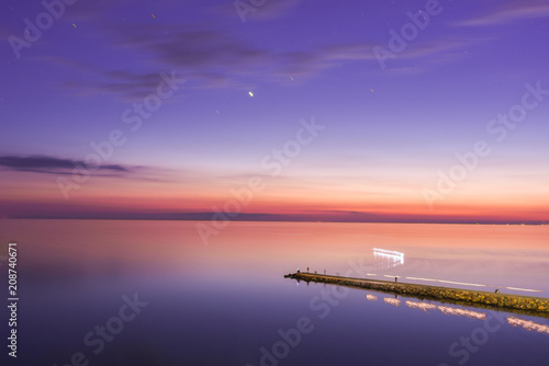 Canvas Snoeien Seascape, view of breakwater, long exposure, Black Sea, Small Bay, Anapa, Russia