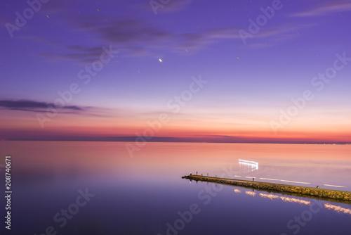 Foto Murales Seascape, view of breakwater, long exposure, Black Sea, Small Bay, Anapa, Russia