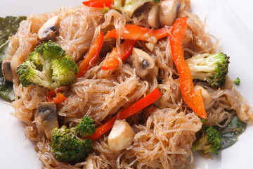 Asian food in a bowl at white background